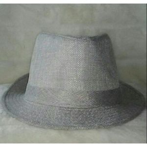 Gray Straw Fedora Hat
